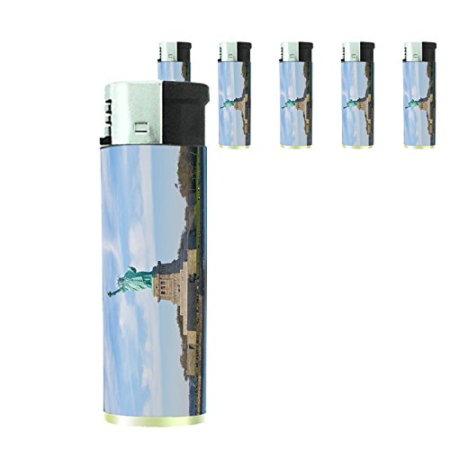 Famous Landmark Statue of Liberty New York City NYC Set of 5 Lighters S9 Electronic Refillable Flame Cigarette -
