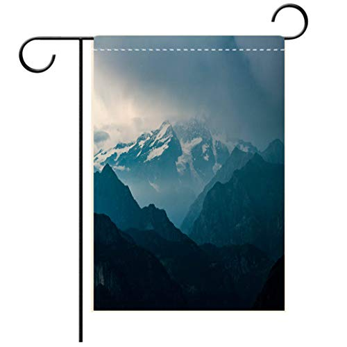 BEISISS Double Print Garden Flag Outdoor Flag House FlagBannerItalian Alps Monte Rosa Mountain Range Landscape at sunsetdecorated for Outdoor Holiday Gardens