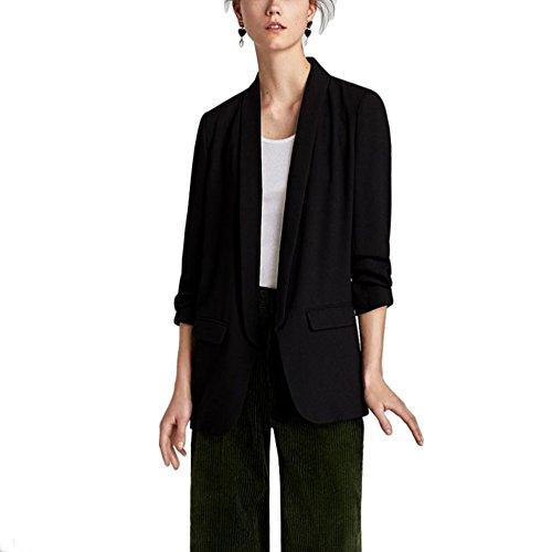 Revers des Lrud chale Noir Longues col d'affaires Femmes Simple 1 Veste Manches de Bonbons Couleur Costumes aqa4xwTI