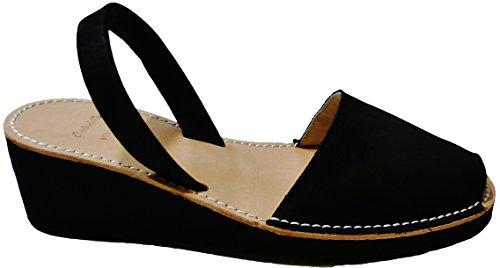 MENORQUINAS Avarcas menorcan Sandalen mit Ferse / Keil 4.8 cm, verschiedene Farben, Sandalen, Clogs Negro nobuck