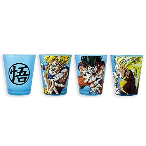 Officially Licensed Dragon Ball Z Goku Shot Glass Set With Neon Blue Blacklight Reactive decal Glass, Set of 4, 1.5oz approx.