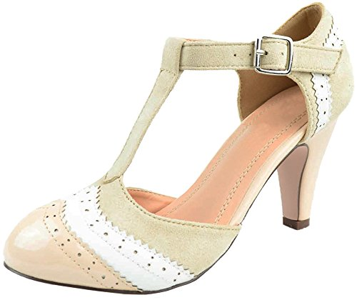 Cambridge Select Women's Closed Toe T-Strap Wingtip Style Cut Out Mid Heel Dress Pump