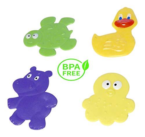 DINY Non-Slip Children's Bath Tub Applique with Suction Cup Bottom Combo 4 Pack - Bathtub Shape