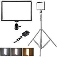 pangshi Ultra-thin LED Video Light Panel with Hot Shoe Mount for Canon Nikon Sony DSLR Camera Camcorder, Dimmable Color Temperature 3200K-6200K and Brightness 10%-100%