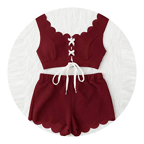 Glittering time Lace Up Front Scalloped Trim Crop Top & Shorts PJ Set,Burgundy,M