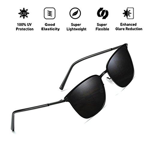 HD polarizadas T1 ATNKE marco reflectante de para protección mujeres gran Vintage metal hombres Retro gafas UV400 con Square tamaño de gafas de de lente sol wISrHqI
