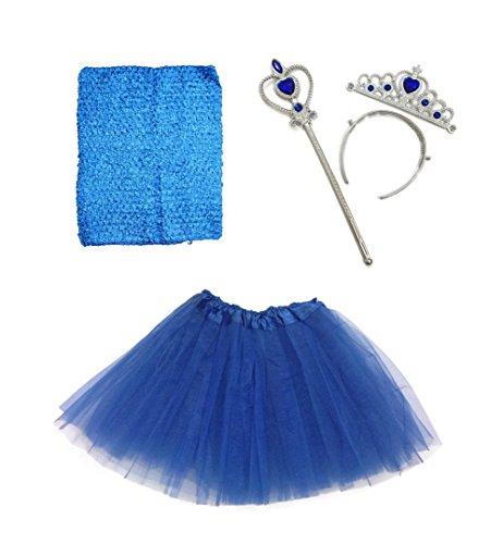 Rush Dance Ballerina Princess Fairy Dress up - Tutu Top, Wand, Tiara & Tutu (Kids (3-6 Years Old), Royal Blue)]()