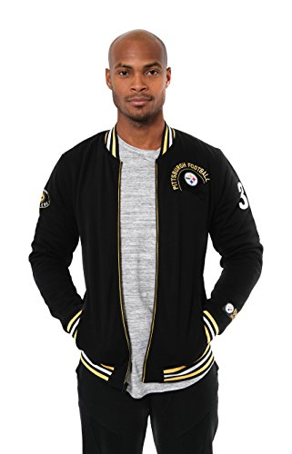 sburgh Steelers Men's Full Zip Fleece Vintage Letterman Varsity Jacket, X-Large, Black ()