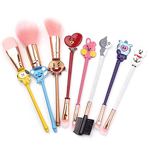 BTS Makeup Brushes Set - 8Pcs Creative Stitch Theme Cosmetic Brushes Set, Premium Synthetic Foundation Eyeshades Brush Set Best Gift for Young Girl Women