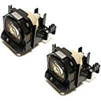 Dual / Twin Pack Original Panasonic Replacement Projector Lamp for ET-LAD60AW / ET-LAD60W including bulb and housing