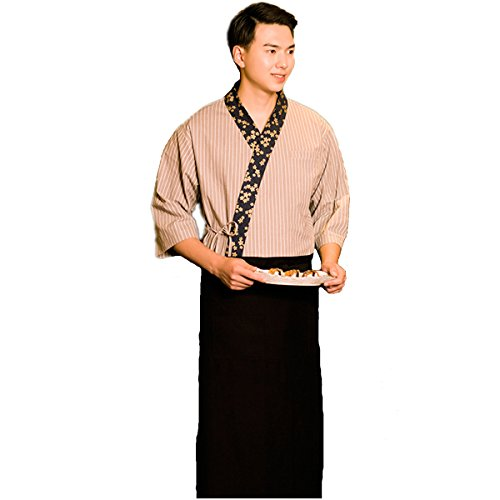 XINFU Sushi Chef Grey Stripe 3/4 Long Sleeve Restaurant Japanese Kimono Kitchen Work Uniform by XINFU