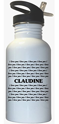 I Love You Claudine White Stainless Steel Water Bottle Straw Top (White Claudine)