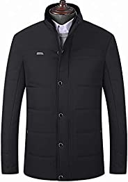 SGYH Middle and Old Aged Men's Warm Down Jacket Thickening Stand Neck Zipper Long Sleeve Cotton Coat Out