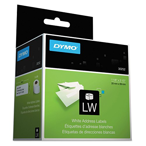 DYMO LabelWriter Self-Adhesive Address Labels, 1 1/8- by 3 1/2-inch, White, 8 Rolls of 350, 2800 Labels Total (30252)