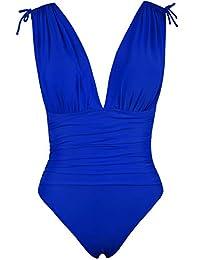 Hilor Women's One Shoulder Tankini Asymmetrical Swim Top Flowy Handkerchief Swimwear