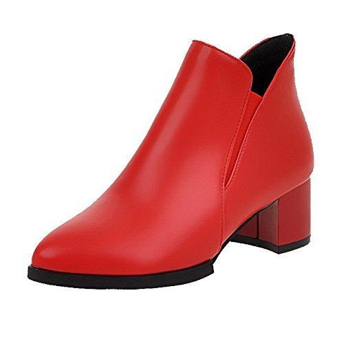 VogueZone009 Damen PU Mittler Absatz Spitz Zehe Rein Ziehen auf Stiefel, Rot, 43