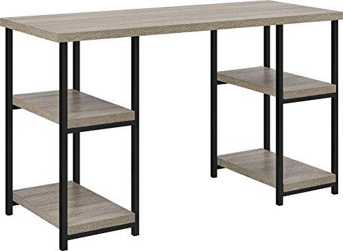 Ameriwood Home Elmwood Double Pedestal Desk, Distressed Gray Oak
