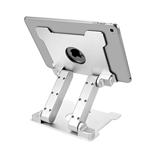 KABCON Quality Tablet Stand,Adjustable Foldabele Eye-Level Aluminum Solid Up to 15-in Tablets Holder for Microsoft Surface Series Tablets,iPad Series,Samsung Galaxy Tabs,Amazon Kindle Fire,Etc.Silver