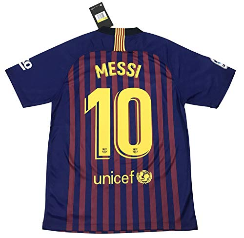 TrendsNow New 2018 2019 Messi  10 Men s FC Barcelona Home Jersey (Large)  Blue 5691fa65f