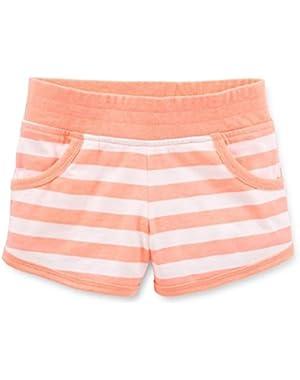 Girls Cotton Knit Striped Shorts