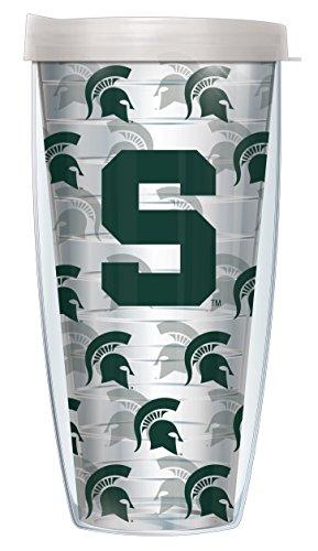 Michigan Logo Mug - Michigan State University Logo Pattern On Clear Super Traveler 22 Oz Tumbler Mug with Lid