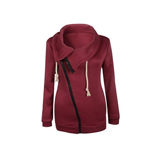 Vintage Top Rosso Giacca Giubbotto Donna Colore Elegante Lunga Glamorous Manica E Autunno Puro Con Semplice Obliquo Zip Cappotto Cappotti Calda Giacche Casual Fashion Inverno xwF0Bqgwn