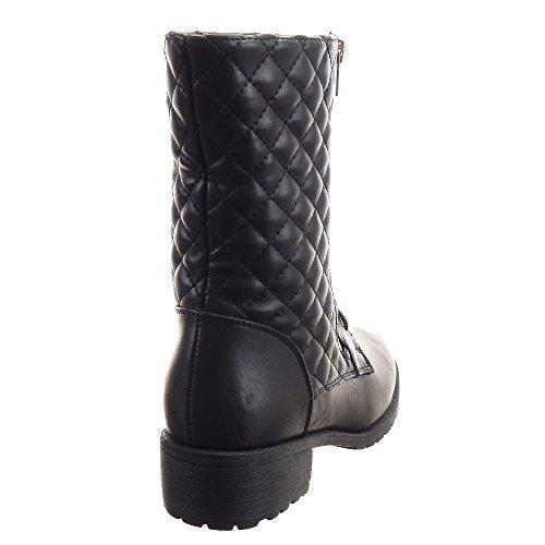 Sopily - Zapatillas de Moda Botines Botas militares Media pierna mujer zapato acolchado Cremallera Talón Tacón ancho 4 CM - Negro