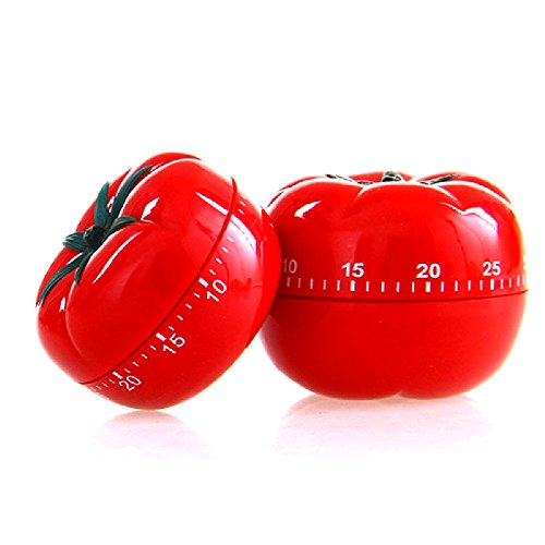 Helpers Cooking - Eutuxia Kitchen Timer, Mechanical. Unique Tomato Shaped Cooking & Baking Helper with Loud Alarm. No More Burnt Food. Twist Clockwise to Set Up to 60 Minutes. No Batteries Required. Fun & Easy to Use.