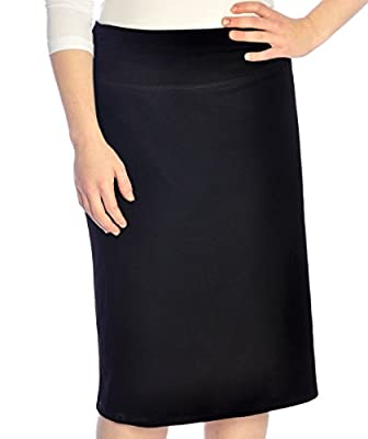 Kosher Casual Women's Modest Dressy Silky & Wrinkle Free Straight Knee-Length Skirt