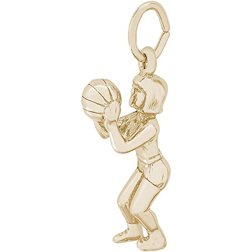 Rembrandt Charms Female Basketball Charm, 10K Yellow Gold (Female Basketball Charm)
