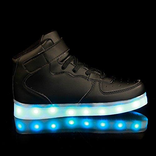 Damen Aufladen Schwarz Turnschuhe Light LED Farben Schuhe Leuchtende Leuchtschuhe Herren Sneaker up Licht FLARUT Blinkschuhe 7 USB Sport Kinder qZU47pwXw