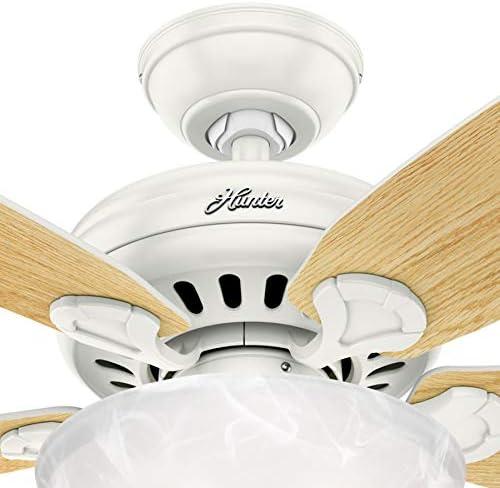 Hunter Fan 44 inch Brushed Nickel Indoor Ceiling Fan with Light Kit Renewed Fresh White