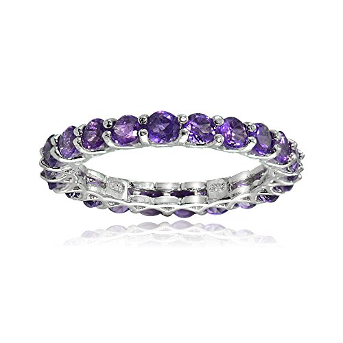 Ice Gems Sterling Silver African Amethyst 3mm Round-Cut Eternity Band Ring, Size 9