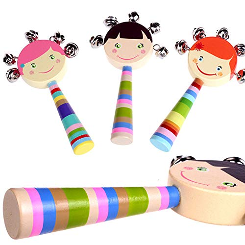 (Wooden Puzzle Bell Toy Child Baby Wooden Smiley Cartoon Rattle Infant Early Education Teaching Aid-(Four)