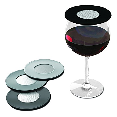 Glass Topper - Drink Tops Outdoor Ventilated Wine Glass/Drink Covers, 4pk- Black/Grey, Perfect Way to Keep Bugs Out, Aromas In, and Reduce Splashing