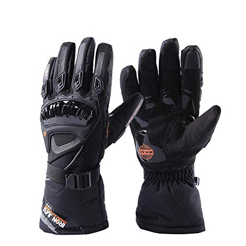 Inf-way Touch Screen Motorcycle Gloves, Waterproof Warm Anti-Slip Padded Knuckle Bicycle Motorbike Hunting ATV Sports Racing Gloves (Black, L)