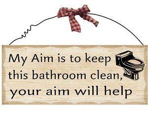Amazoncom Wooden Wall Sign My Aim Is To Keep This Bathroom Clean - Clean my bathroom