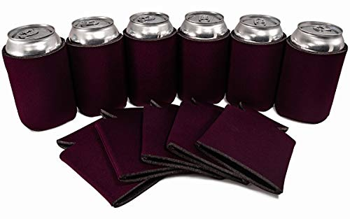PartyPrints 25 Can Sleeves - Bulk Blank Can Coolers - Eggplant Beer Sleeves for Cans and Bottles - Blank Drink Coolers - DIY Party Gift