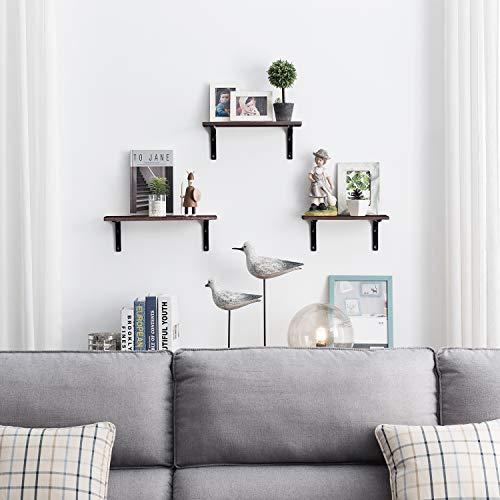 EKNITEY Floating Shelves Wall Mounted, Rustic Wood Wall Shelves Book Shelf Multipurpose Wall Storage Shelves Set of 3 Decor Display Shelves for Living Room/Bedroom/Bathroom/Kitchen (Brown)