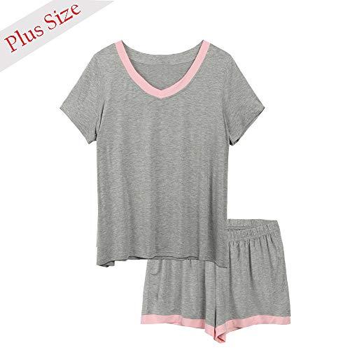 9c516166721 IN VOLAND Womens Plus Size Sleepwear V-Neck Short Sleeve Pajama Set  Nightwear Short