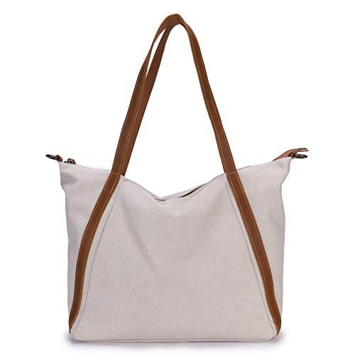 Imiflow Women's Top Handle Shoulder Bags Canvas Leather Cross Body Tote Purse Satchel (523 Beige)