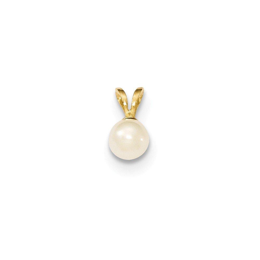 Mia Diamonds 14k Yellow Gold 5-6mm Round White FW Cultured Pearl Pendant