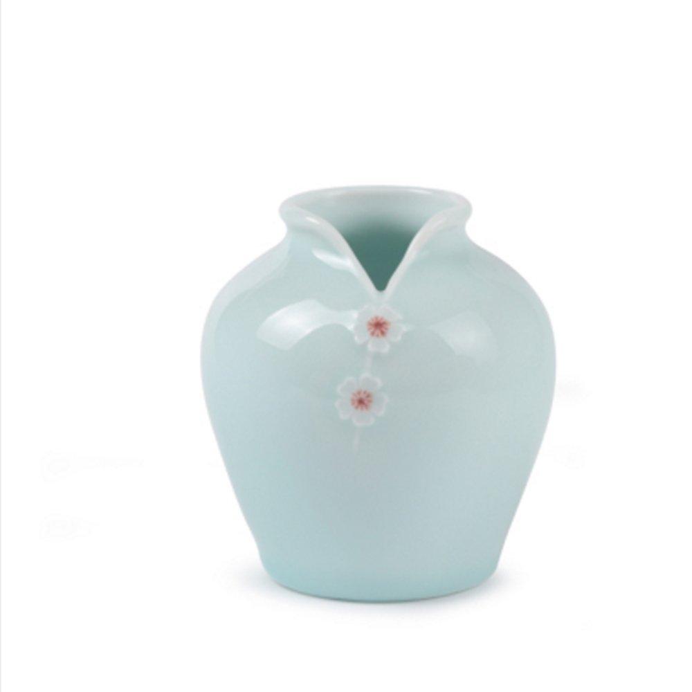 XIAOYAN 小さなセラミック磁器プラムCheongsam花瓶手作りの工芸品ドライフラワー植物ポットは、オフィスの家庭用ダイニングテーブルの装飾を飾る(3色オプション) (色 : Powder blue) B07DYRZCH9 Powder Blue Powder Blue
