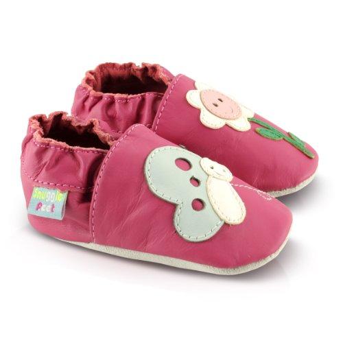 Snuggle Feet - Suaves Zapatos De Cuero Del Bebé Flor con cara feliz (12-18 meses)
