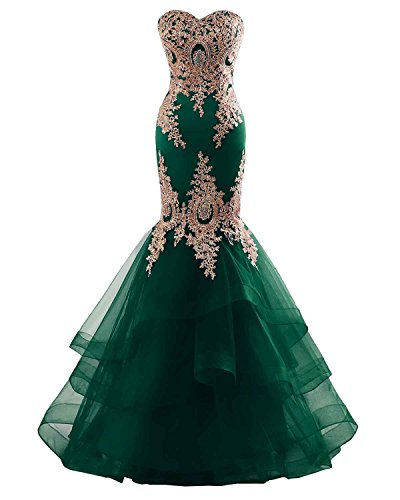 (Changuan Mermaid Evening Dress for Women Backless Formal Long Prom Dresses with Embroidery Dark Green-4)