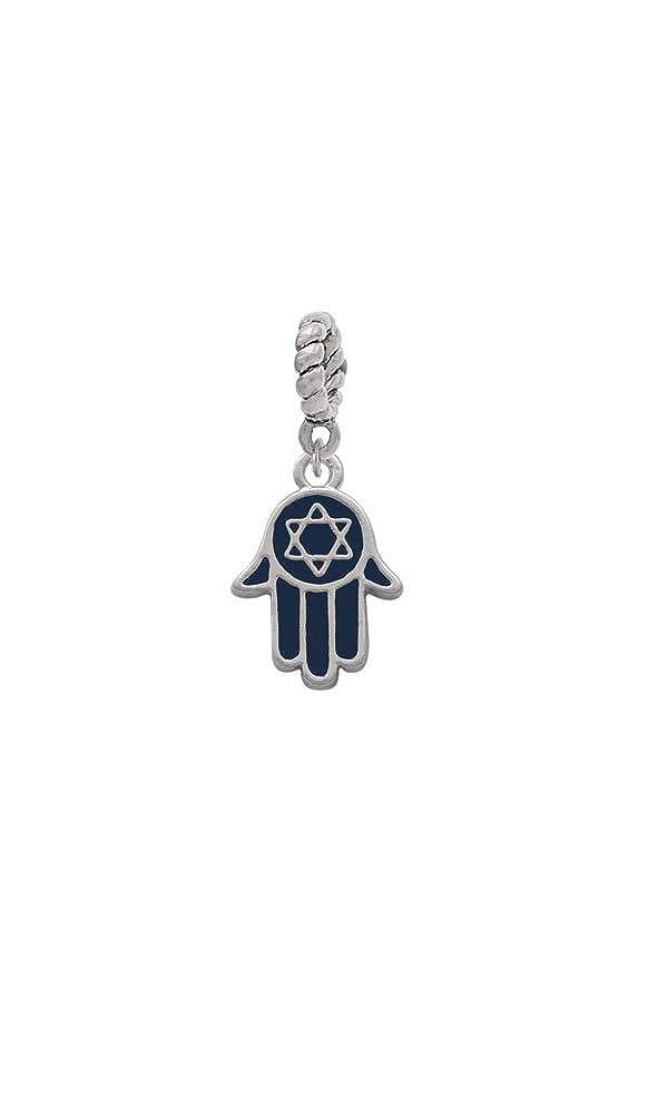 Silvertone Blue Hamsa Hand with Star of David Rope Charm Bead