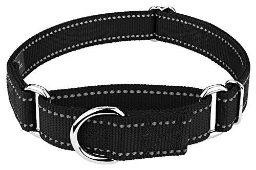 Country Brook Petz - Black Reflective Nylon Martingale Dog Collar - Small