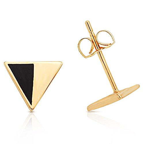Jewel Connection Solid 14K Yellow Gold Modern Design Triangle and Black Epoxy Stud Earrings for Women
