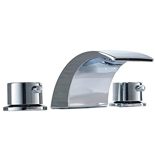 Bathlavish Bathroom Sink Faucet Waterfall Widespread LED Light 8-16 Inch Two Handle Three Hole Mount Lavatory Vanity Basin Chrome Mixer Tap Commercial
