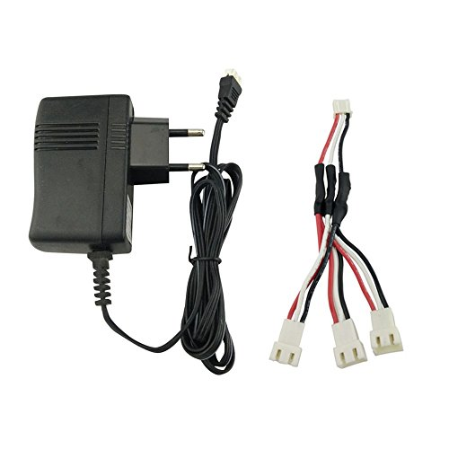 (Faironly 7.4V Lithium Battery Charger for X4 H502E H502S H501S X8 X8C X8G X8HG X8HW X8HC X101 V913 X6 Helicopter Charger EU Plug + Adapter Cable)